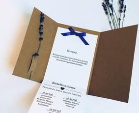 Kvietimai, stalo kortelės, dekoras