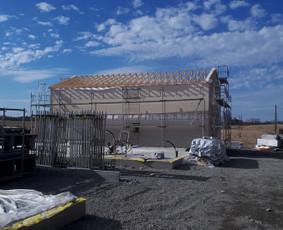 Karkasinių, skydinių namų statyba ir gamyba iki rakto.
