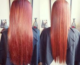 Plaukų tiesinimas ir atstatymas keratinu, plaukų poliravimas