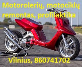 Motorolerių, motociklų, mopedų remontas, dažymas.