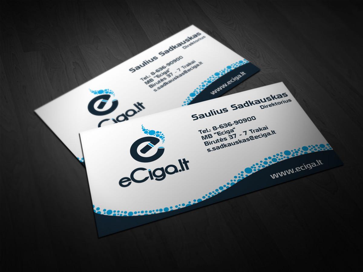 """Elektroninių cigarečių parduotuvės """"eCiga.lt"""" vizitinės dizainas"""