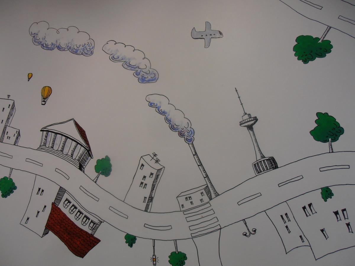 Piešinys ant sienos. detalė.