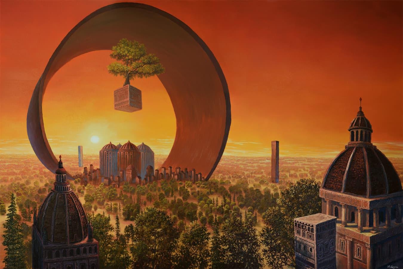 """Paveikslas """"Žiedo Miestas"""". dydis 150x100cm. aliejiniai dažai ant drobės. (PARDUOTAS)"""