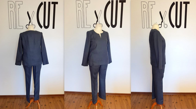 Individualiai pasiūtas lininis kostiumėlis vasarai