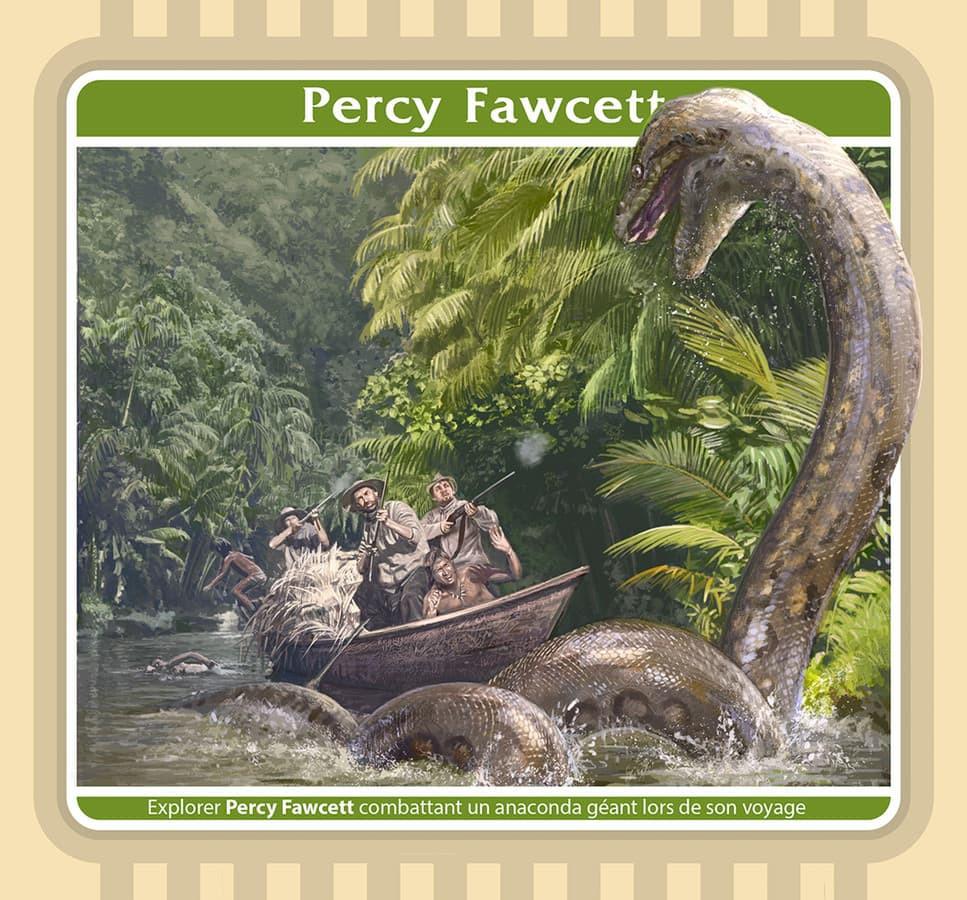 Keliautojas Persis fosetas (1867–1925) ir milžiniška gyvatė. Amazonės džiunglės. Iliustracija.