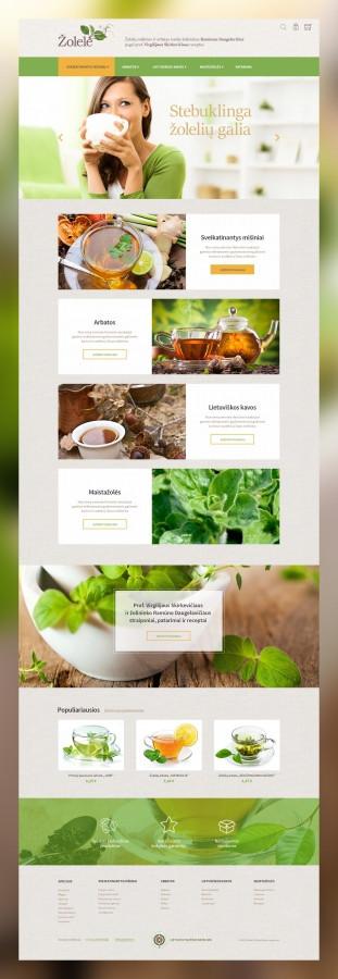 """""""Žolelė.lt"""" elektroninė parduotuvė. Čia parduodamos natūralios arbatos, taip pat talpinami naudingi patarimai apie arbatų vartojimą, naudą ir sveikatinimą.  Daugiau darbų  → http://www.andriusdesigner.com/"""