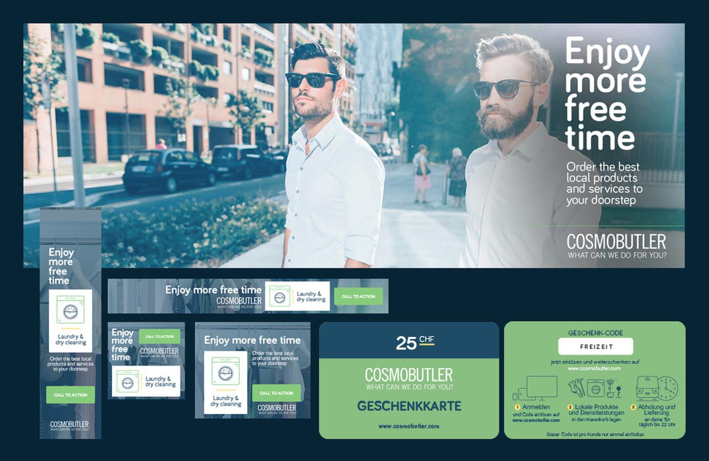 Reklaminiai skydeliai, plastikinės kortelės, skrajutės Užsakovas: COSMOBUTLER GmbH (Šveicarija)