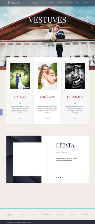 Sukurtas reprezentacinis puslapis, panaudota WordPress TVS.