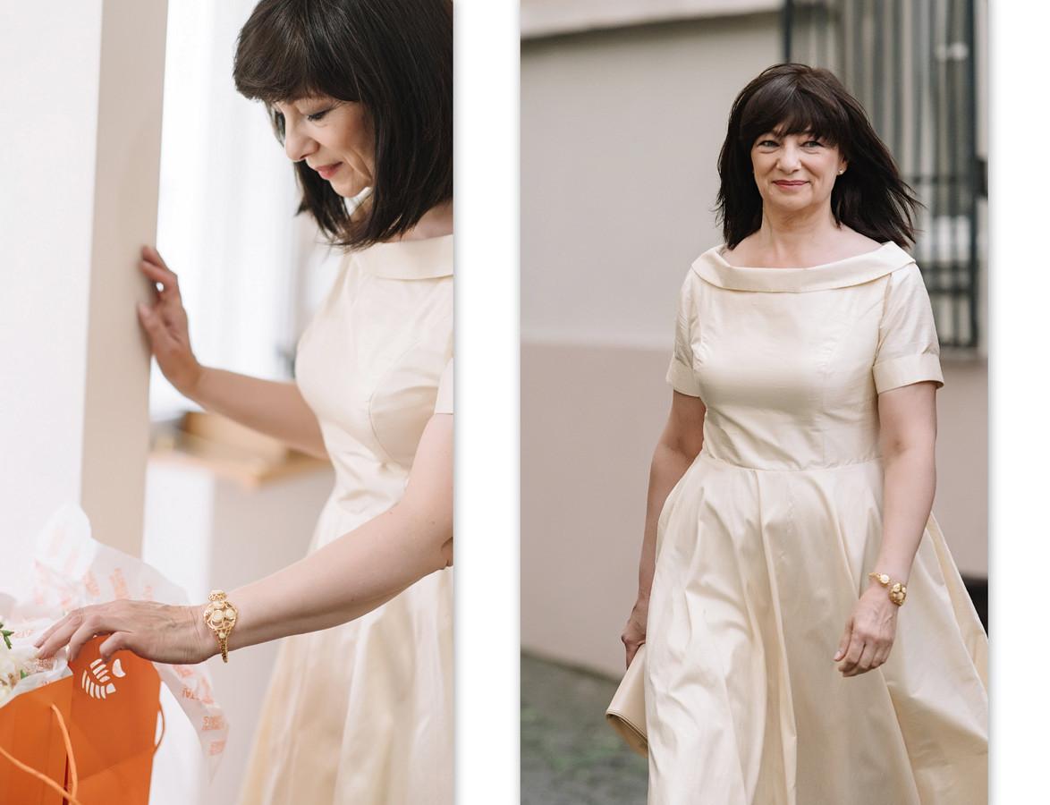 Individualiai kurta ir siūta nuotakos mamos suknelė.