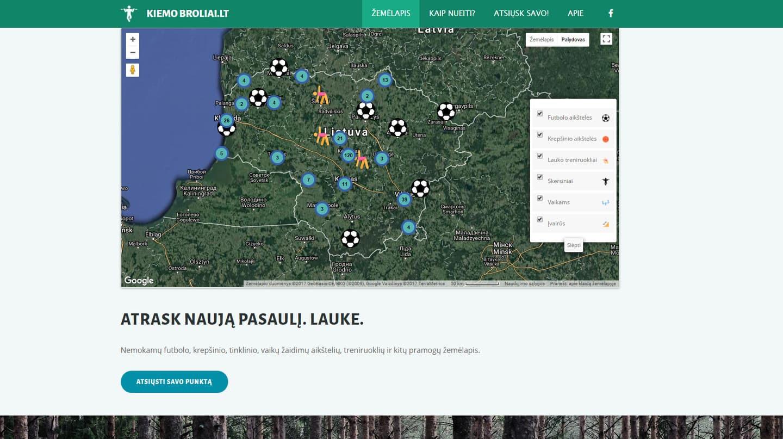 Žemėlapis su Lietuvoje esančiomis nemokamomis sporto vietomis www.kiemobroliai.lt