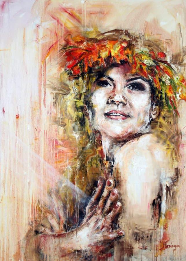 """Baltų deivės """" Milda """" anglis , aliejus , drobė 140 ×100"""