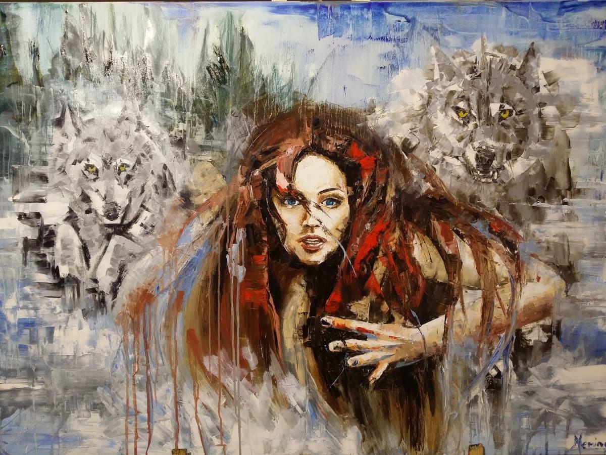 """"""" Bėganti su vilkais """" anglis , aliejus , drobė 140 × 100"""