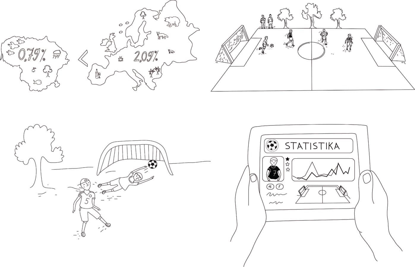 Serija iliustracijų animaciniam klipui