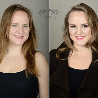 Prieš ir po profesionalaus makiažo - palyginamoji foto.  Makiažo/šukuosenos autorė Irina Binkevičienė Fotografė www.fotopersona.lt