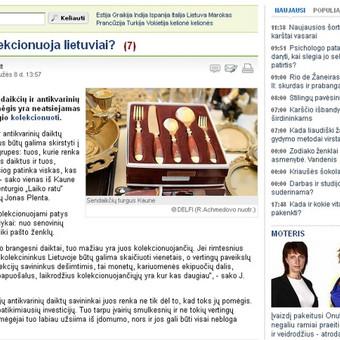 Portale Delfi.lt publikuotas mano parengtas pranešimas spaudai apie tai, ką dažniausiai kolekcionuoja lietuviai.