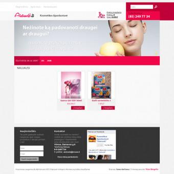 Internetinės parduotuvės sukurimas, dizaino darbai.