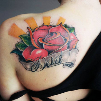 #LinasTattoo #Tattoo #Ink #Inked #RoseTattoo #Rose #ColorTattoo #Dad #DadTattoo #IntenzeInk #EternalInk