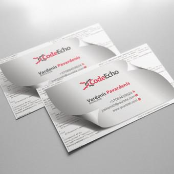 Codeecho vizitinių kortelių maketas.