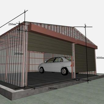 Dvivietis metalinis garažas