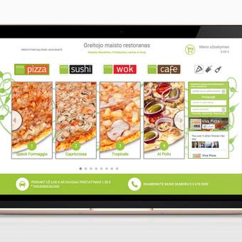 Svetainė su individualiai suprogramuota užsakymų priėmimo / valdymo platforma picerijai. www.vivapizza.lt