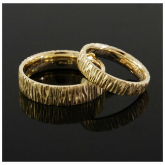 Faktūruoti vestuviniai žiedai, Au585.