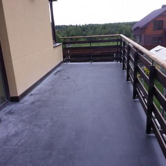 Balkonų hidroizoliacija, naudojant Firestone EPDM membraną. Pilnai klijuojama sistema.