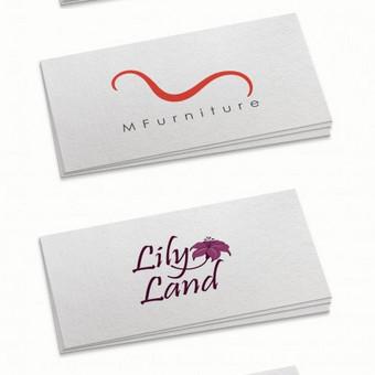 Vizitinių kortelių vizualai su mano kurtais logotipais.