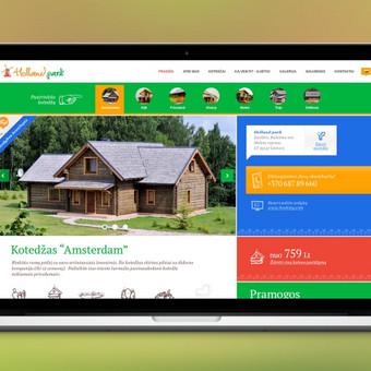 """""""Holland Park"""" svetainė – tai vieta ieškantiems kokybiško poilsio.  Atlikti darbai - sukurtas sodybos firminis stilius, svetainės struktūrinis prototipas, penkiolika svetainės dizainų atspindinčių visus svetainės puslapius. Svetainė automatiškai prisitaiko prie skirtingo naršyklės pločio (Responsive design).  Specialiai šiam projektui sukurta unikali ikonografija, atspindinti sodyboje teikiamas paslaugas ir pramogas.  Plačiau apie šį projektą: http://bit.ly/1kwd7X5  Daugiau darbų  →http://www.andriusdesigner.com/"""