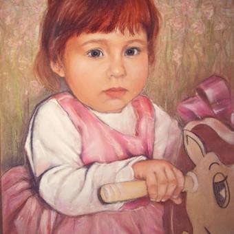 Mergaitės portretas./pastelė.