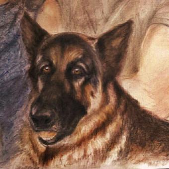 fragmentas iš šeimyninio portreto su savo augintiniais,/Pastelė,kartonas./