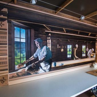 Kioskelio viduje uzsakovai norejo matyti erdve praplecianti vaizda i senoviska virtuve. Si uzsakyma atlikau Norvegijoje, aliejiniais Imparat dazais