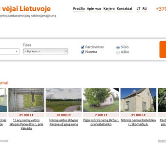Nekilnojamojo turto agentūros svetainė su paprasta ir aiškia paieškos sistema