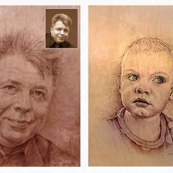 Portretai-piešimas iš nuotraukos ant faneros. Formatas ( A4-A3)
