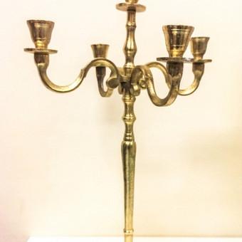 Aukso spalvos penkiašakė žvakidė . Turime 6 vnt. Daugiau informacijos www.baltastudija.lt