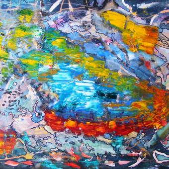 """Mišria technika ant drobės tapytas paveikslas, pavadinimu - """"Transcendencija į būtį"""", 50x70cm."""