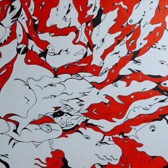 """Spec. markeriais ant drobės pieštas grafikos paveikslas, pavadinimu - """"Aqua dinallica"""", 50x70cm."""