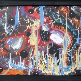 """Akriliniais dažais ant preskartono tapytas paveikslas, pavadinimu - """"Laiko verpetai"""", 67x87cm. (Įrėmintas, juodi rėmai) Parduodamas už 199 EUR"""