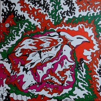 """Spec. markeriais ant drobės pieštas grafikos paveikslas, pavadinimu - """"Paukštis"""", 50x50cm.  Šis grafikos paveikslas yra mano pirmasis grafikos darbas ant drobės."""