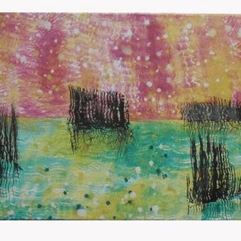 """Aliejiniais dažais ant drobės tapytas paveikslas, triptikas, pavadinimu - """"Pašvaistė"""", 30x80cm."""