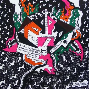 """Spec. markeriais ant drobės pieštas grafikos paveikslas, pavadinimu - """"Vėžio era"""", 40x40cm."""