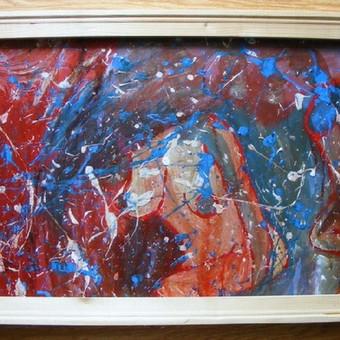 """Mišria technika ant preskartono tapytas paveikslas, pavadinimu - """"Tikrasis veidas"""", 48x86cm."""