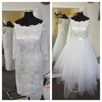 Trumpa nėrinuota suknelė su ant viršaus uždedamu tiuliniu, iš kampš kirptu, sijonuku.