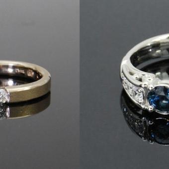 Žiedai Au585 su brangakmeniais.