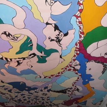 Lubų tapyba (freska) tapybos procese.