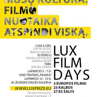 """""""LUX film days"""" miesto reklamos ClearChannel plakatas. ~4 m aukščio. Užsakovas: LUX Film Prize"""