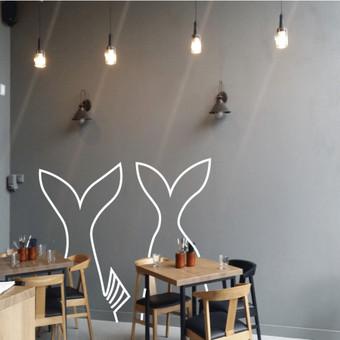Jūros gėrybių restoranas. Maketas piešiniui ant sienos.