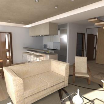Buto interjero projektas 1. Virtuvės erdvė apjungta su svetainės erdve, valgomojo zona, baras. Medžiagų, spalvų parinkimas.