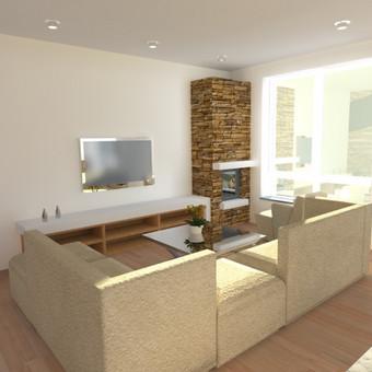 Buto interjero projektas 3. Atlikti viso buto patalpų, elektros, baldų išdėliojimo, lubų, grindų planai. Svetainės zona.