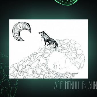 """Grafinė iliustracija pavadinimu """"Apie mėnulį ir šunį"""" Technika mišri atliekama rapitografais, tušu ir markeriais"""