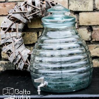 Stiklinis indas su kraneliu